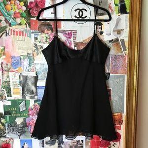 Victoria Secret Black Satin Poly Cami Size Large